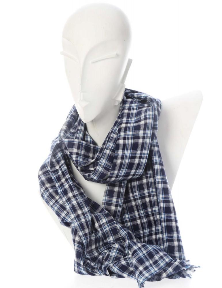 Zwillingsherz Herren Schal Tuch dunkelblau blau weiß Karo kariert Baumwolle