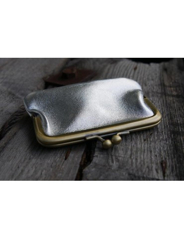 Portemonnaie Geldbörse Börse klein silber farbenEchtes Leder