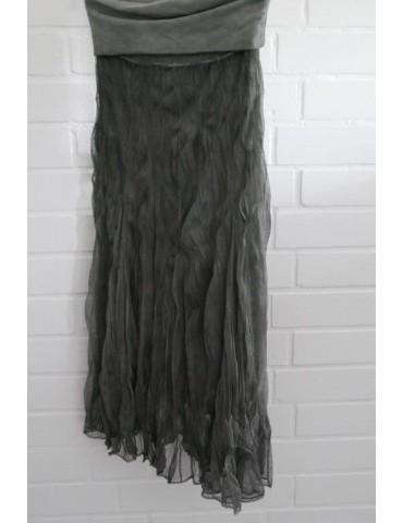 Damen Tüll Rock Kleid Ibiza Look oliv grün khaki Onesize ca. 36 - 42 Blogger Style