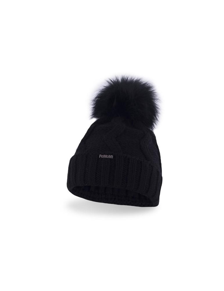 Original wählen bester Platz tolle Passform PaMaMi Damen Strick Mütze Beanie schwarz black Bommel 17533
