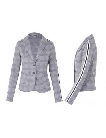 Esvivid Bequemer Sportlicher Jersey Blazer Business tailliert schwarz weiß Karo Streifen
