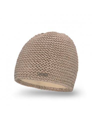 PaMaMi Damen Strick Mütze Beanie beige cappuccino 18500
