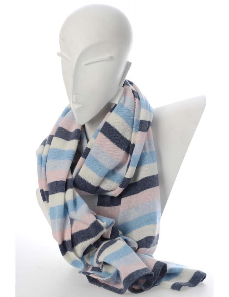 Zwillingsherz Winterschal Schal blau rose hellblau creme Streifen mit Kaschmi
