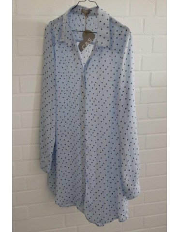 C & S Damen Tunika hellblau blau Sterne Gr. L ca. 36 - 40