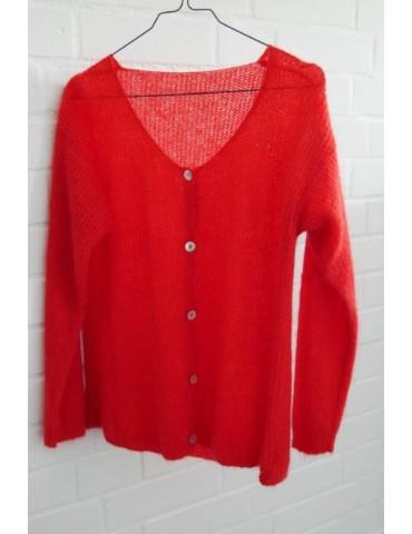 Damen Strick Jacke rot red uni Onesize ca. 36 40 mit Wolle