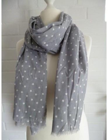 Schal Tuch hellgrau weiß kleine Sterne mit Baumwolle