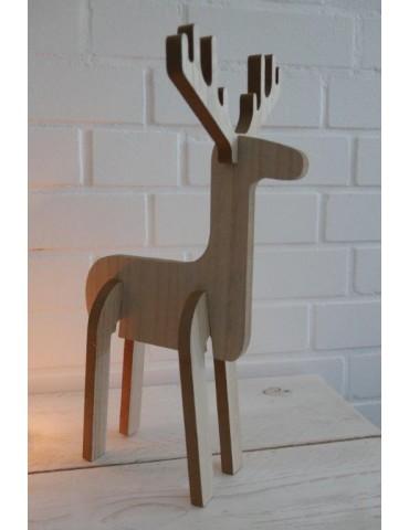 Deko Holz Elch Weihnachten Adventszeit natur beige