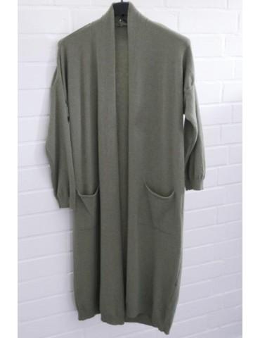 Damen Strick Jacke oliv khaki grün Onesize ca. 36 - 42 mit Viskose