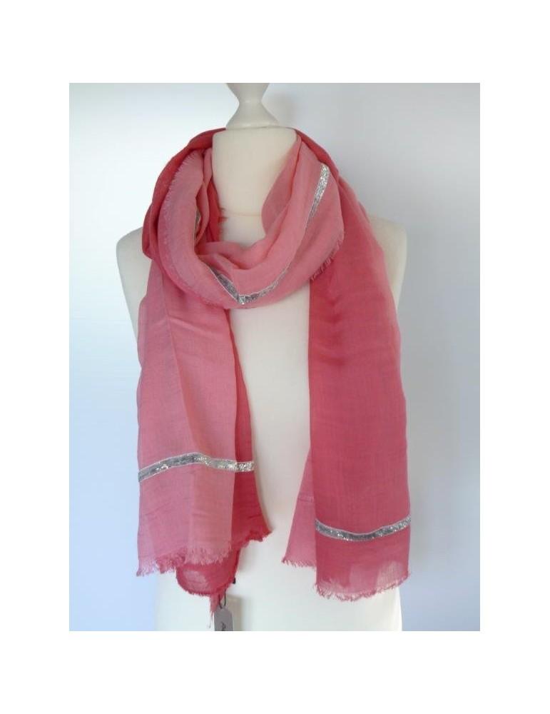Schal Tuch rot rose Farbverlauf Silber Band Passigatti 171- 11136 45 Viskose Modal