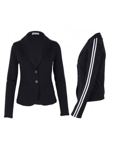 Esvivid Bequemer Sportlicher Jersey Blazer Business tailliert schwarz Streifen weiß schwarz