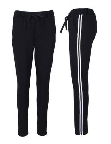 ESViViD Coole Sportliche Jersey Hose Chino schwarz Streifen weiß schwarz