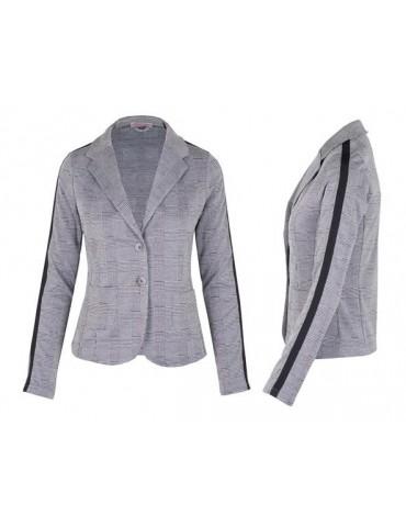 Esvivid Bequemer Sportlicher Jersey Blazer Business tailliert schwarz weiß Karo Streifen schwarz