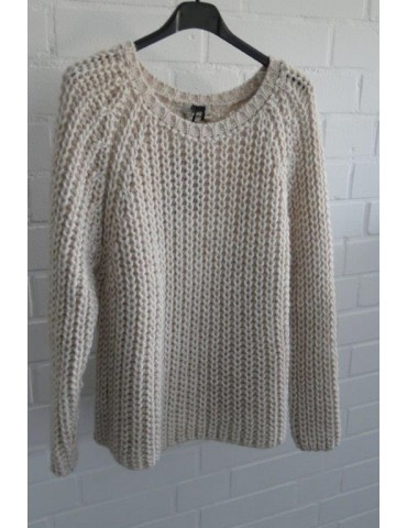 Cooler Strick Pullover natur beige Onesize ca. 36 38 mit Viskose und Wolle