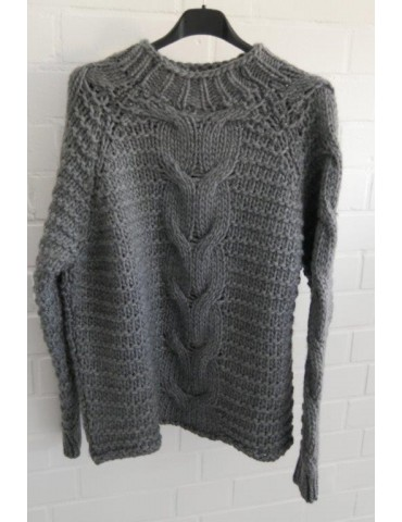 Cooler Strick Pullover grau Onesize ca. 38 - 42 mit Wolle