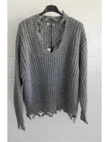 Cooler Strick Pullover Fransen Zipfel grau Onesize ca. 38 - 42 mit Wolle