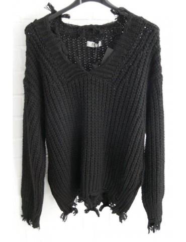 Cooler Strick Pullover Fransen schwarz black Onesize ca. 38 - 42 mit Wolle