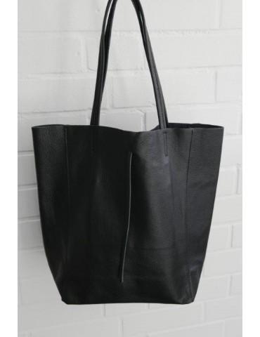 Damen Tasche Schultertasche Echtes Leder schwarz black Made in Italy