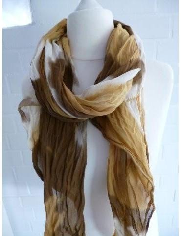 Schal Tuch Loop Made in Italy Seide Baumwolle senfgelb creme braun Farbverlauf