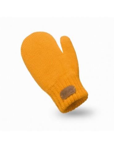 PaMaMi Kinder Fäustlinge Handschuhe gelb curry senf uni 17221