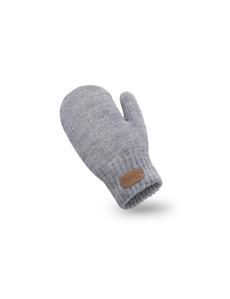 PaMaMi Kinder Fäustlinge Handschuhe hellgrau grau uni 17221