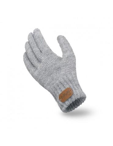 PaMaMi Kinder Fingerhandschuhe Handschuhe hellgrau grau uni 18227