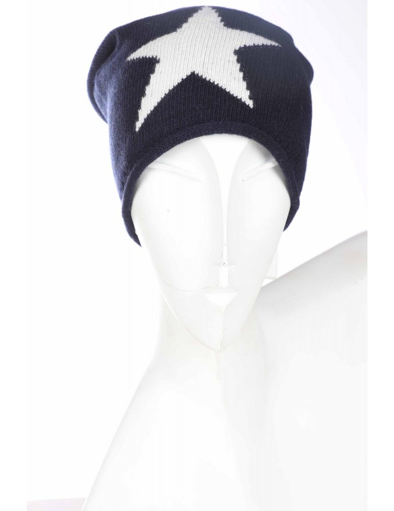 Zwillingsherz Mütze dunkelblau creme Stern mit Fleece und Kaschmir