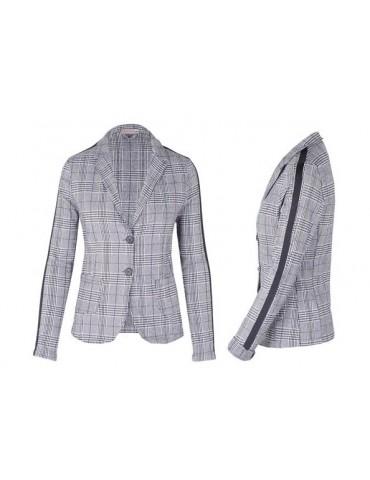 Esvivid Bequemer Sportlicher Jersey Blazer Business tailliert schwarz weiß Karo Streifen schwarz 4735GSS
