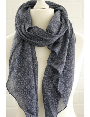Schal Tuch Loop Made in Italy Seide Baumwolle dunkelblau bleu Rauten