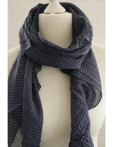 Schal Tuch Loop Made in Italy Seide Baumwolle dunkelblau weiß Kreuze