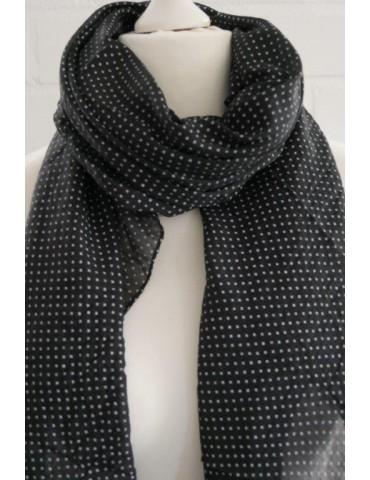Schal Tuch Loop Made in Italy Seide Baumwolle schwarz weiß Kreuze
