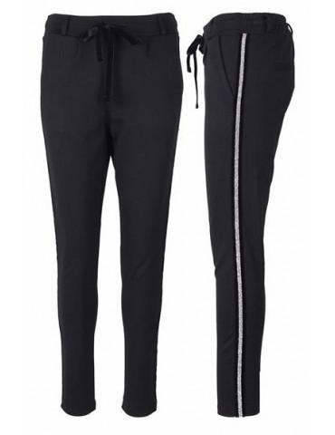 ESViViD Coole Sportliche Jersey Hose Chino schwarz silber Streifen Festlich