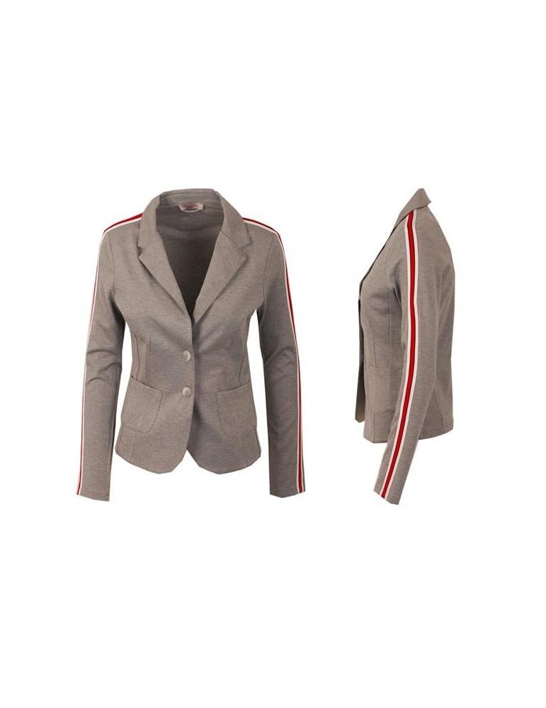 Esvivid Bequemer Sportlicher Jersey Blazer Buisness tailliert hellgrau rot weiß Streifen
