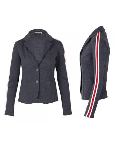 Esvivid Bequemer Sportlicher Jersey Blazer Buisness tailliert anthrazit grau rot weiß Streifen