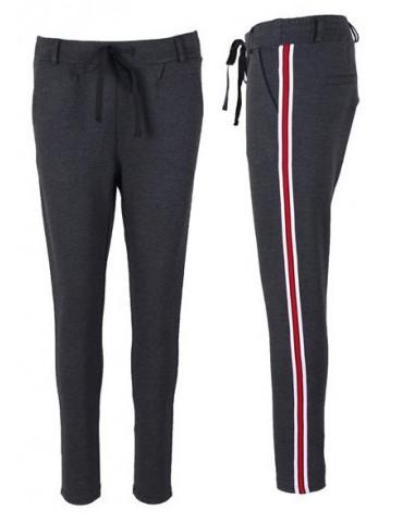 Esvivid Coole Sportliche Jersey Hose Chino anthrazit grau weiß rot Streifen 9051RW