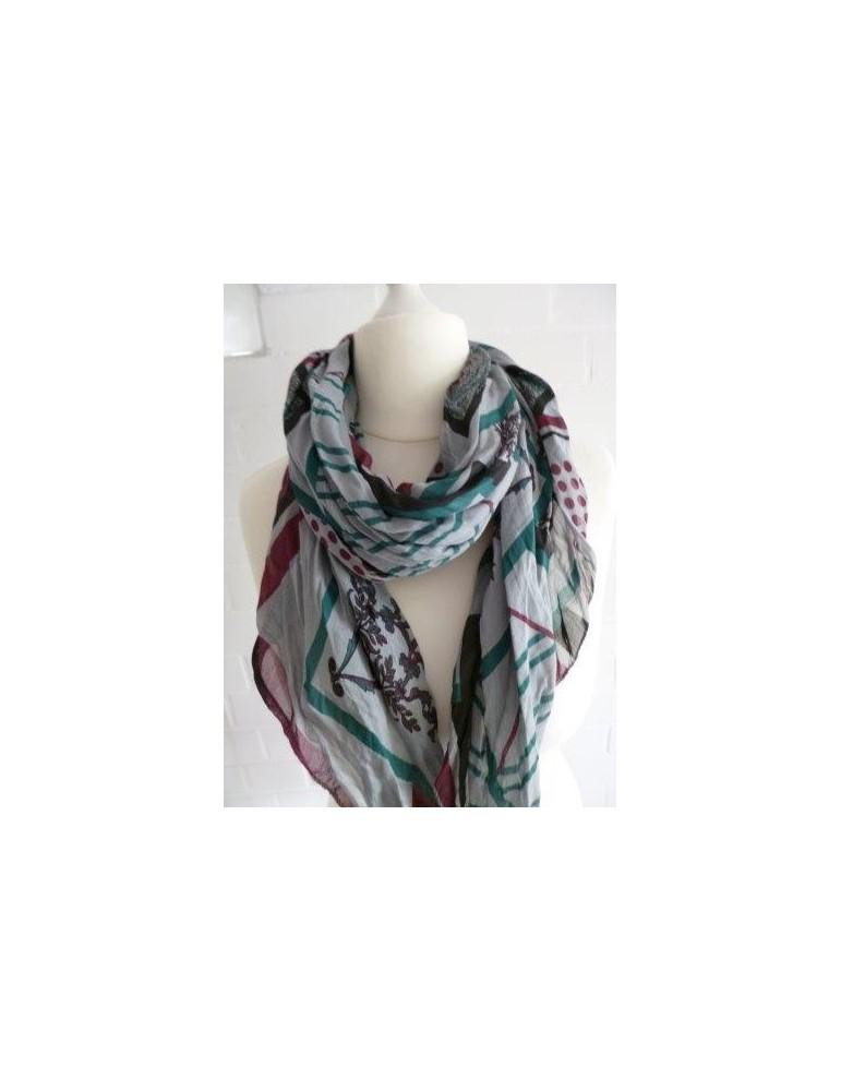 Schal Tuch Loop Made in Italy Seide Baumwolle hellgrau bunt Muster