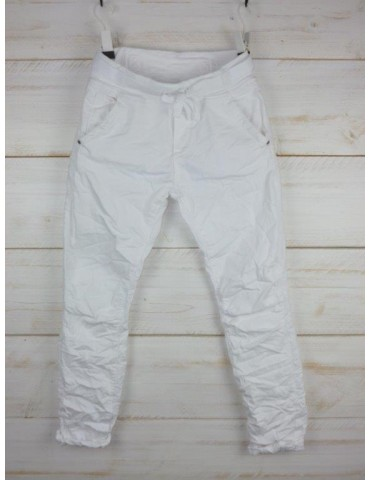 Melly & Co Jeans Hose Jogging Jog Pants weiß white Ibiza 8139