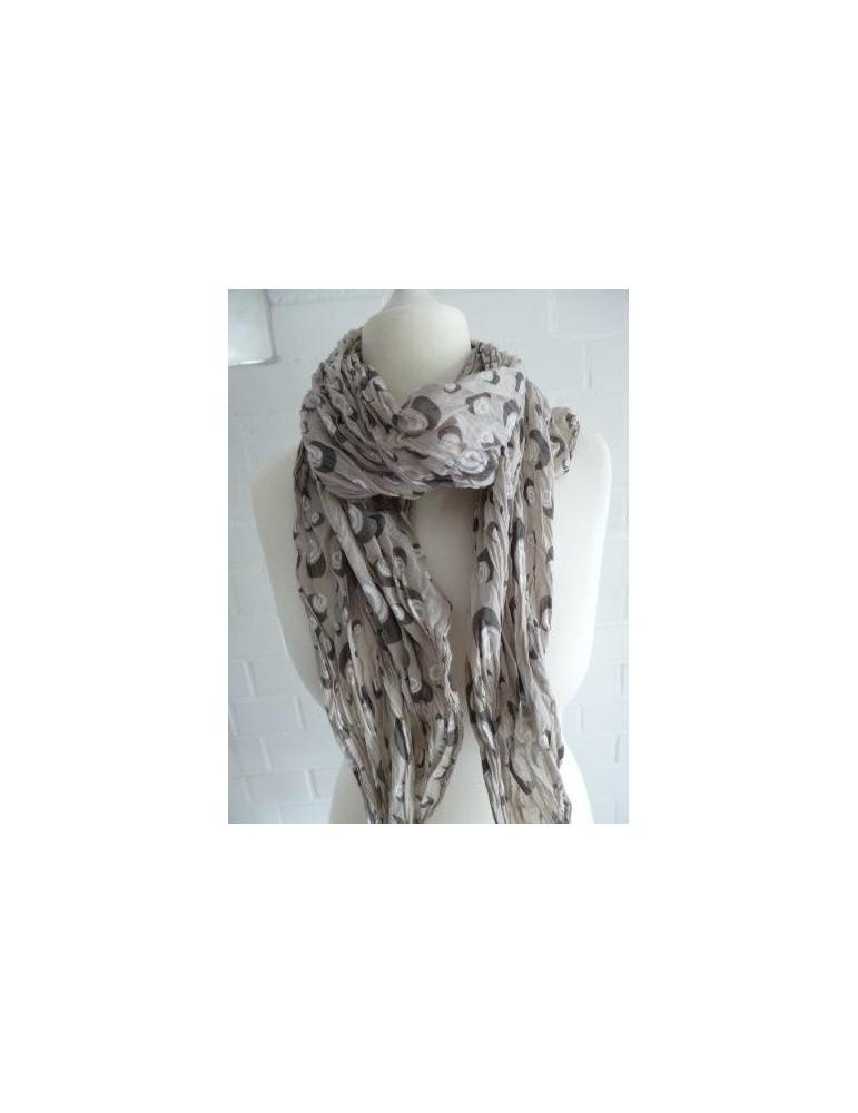 Schal Tuch Loop Made in Italy Seide Baumwolle beige weiß braun Kreise