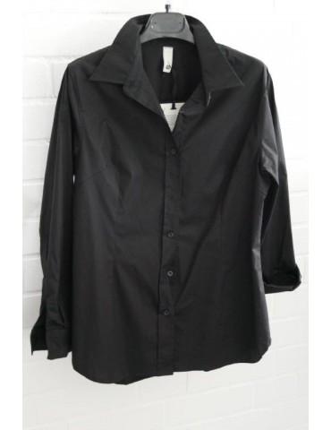 ESViViD Damen Bluse schwarz black edel schlicht Basic uni