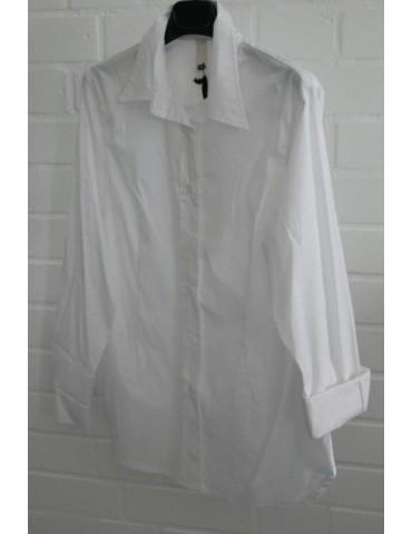 ESViViD Damen Bluse weiß white edel schlicht Basic uni