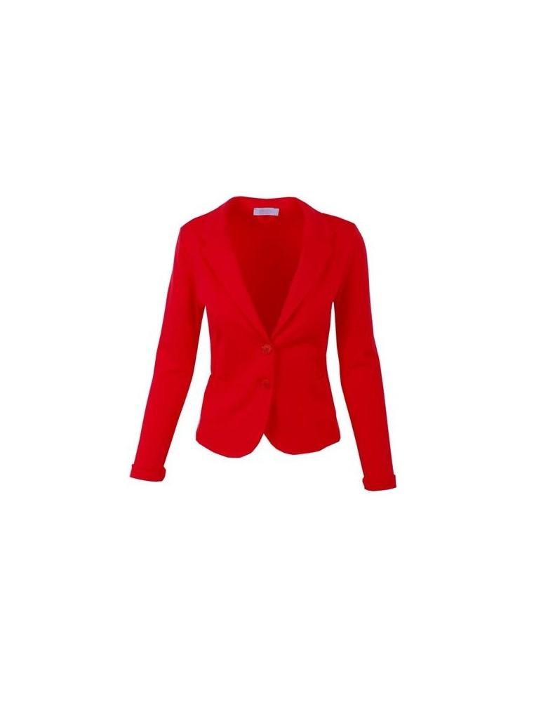 Esvivid Bequemer Sportlicher Jersey Blazer tailliert rot uni