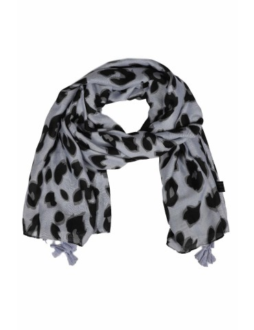 Schal Tuch hellgrau grau schwarz Tasseln Leo Camouflage Blogger Style
