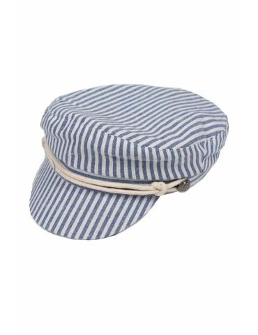 Schieber Mütze Kappe blau weiß Streifen Kordel gefüttert Baumwolle