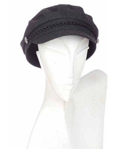 Schieber Mütze Kappe schwarz black uni Kordel gefüttert