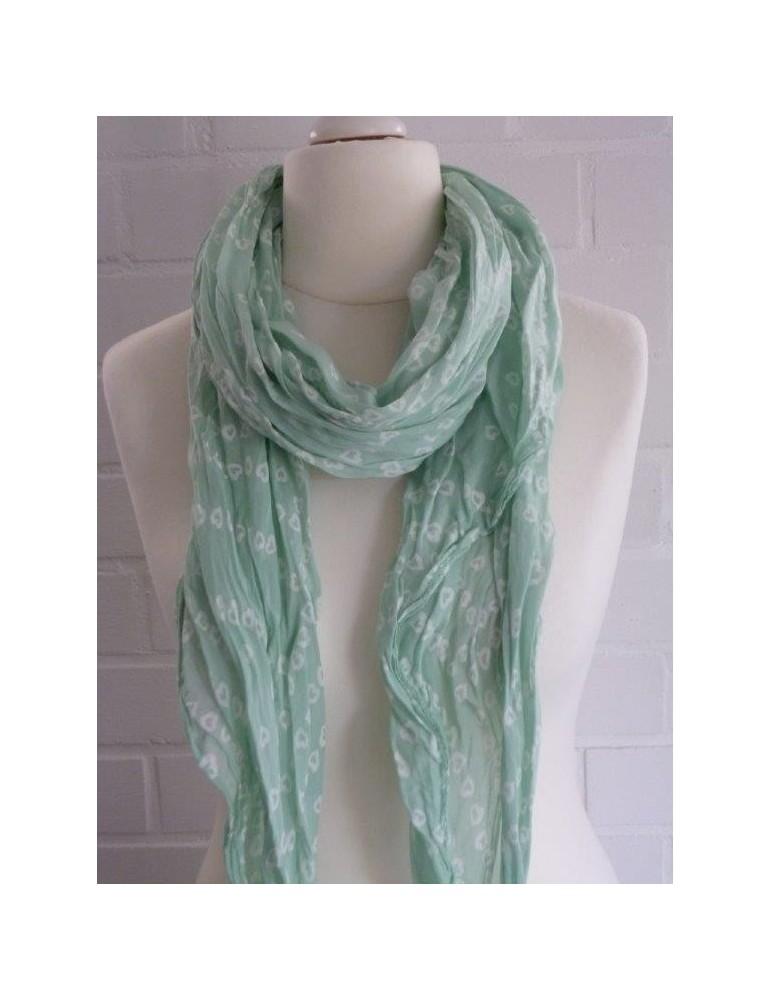 Schal Tuch Loop Made in Italy Seide Baumwolle mint weiß Herzen