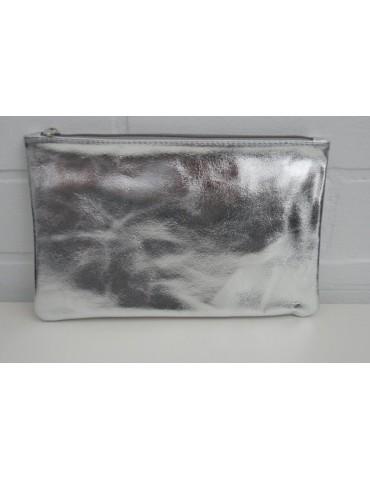 Kosmetiktasche Portemonnaie Geld Tasche Bag in Bag silber metallic Echtes Leder