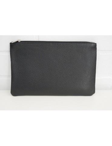 Kosmetiktasche Portemonnaie Geld Tasche Bag in Bag schwarz Echtes Leder