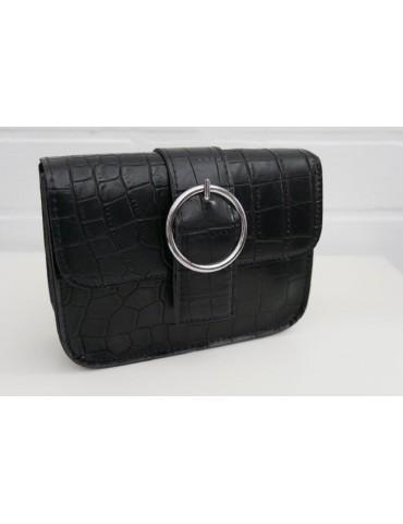Damen Tasche Schultertasche Crossbag schwarz black Krokolook