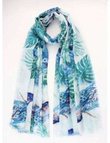 Schal Tuch weiß grün royal blau bunt Vögel Blätter Blogger Style