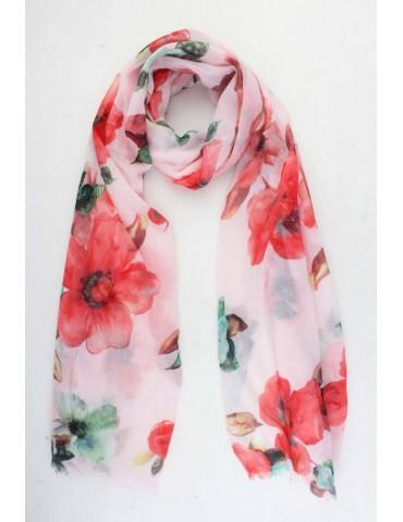 Schal Tuch rose rot grün braun bunt Blumen Blogger Style
