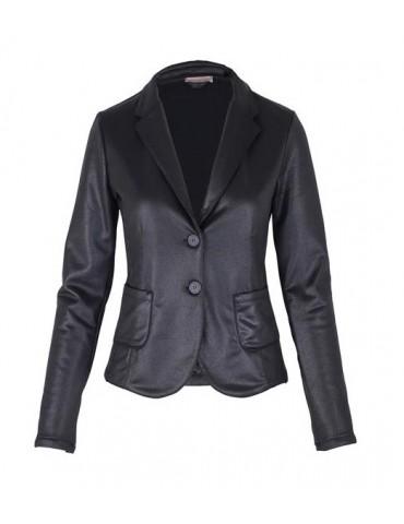 Esvivid Bequemer Sportlicher Jersey Blazer tailliert schwarz black Glanz uni